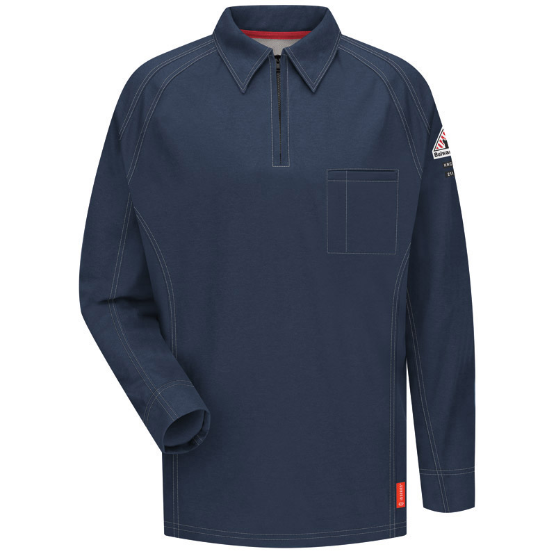 bulwark flame resistant iq series long sleeve polo qt12