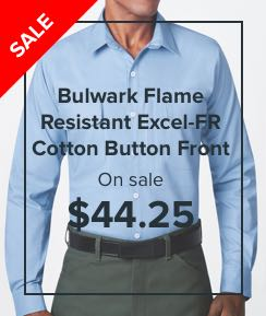 On sale! Bulwark Flame Resistant Excel-FR Cotton Button Front Work Shirts $44.25